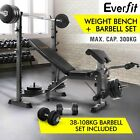 Multi-Station Weight Bench + 38-108KG Barbell Set Weight Plates Fitness Flat Gym