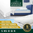 COOL GEL Memory Foam Mattress Topper BAMBOO Fabric Cover Double 8CM Protector