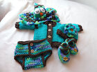 BABY. GIRL.CROCHET SET.0/3 MONTH.DIAPER COVER.CARDIGAN. HAT.SHOES.BABY SHOWER.