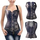Black Lady Girl Quality Leather Body Shapewear Lace Up Corset Zipper Top Bustier