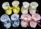 NEWBORN UNISEX BOY OR GIRL 100% QUILTED COMBED COTTON  BABY BOOTIES W/TIES ~NEW