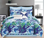 12 Piece Paisley Blue/Green/White Bed in a Bag w/500TC Cotton Sheet Set