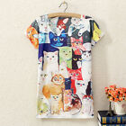 Stylish Women's Printed Short Sleeve T-shirt Casual Summer Blouse