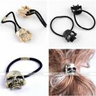 Punk Silvery Metal Hollow Skull Pony Tail Hair Wrap Holder Hairband Accessories