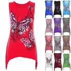 Ladies Casual Sleeveless Womens Butterfly Print Waterfall T Shirt Vest Top