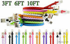 Braided Flat Tangle Free Micro USB Charger Cable Cord Sync For New Cell Phone