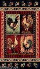 Roosters Kitchen carpet Woven 5x8 Area Rug Black Multicolor Actual Size 5'2x7'2