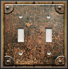Light Switch Plate Cover - Rusted Copper Rivets Wood Image - Home Decor Faux