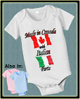 MADE IN CANADA WITH ITALIAN ITALY PARTS BODYSUIT FLAG SHIRT PROUD TO BE