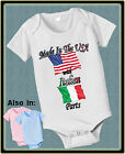 MADE IN USA WITH ITALIAN ITALY PARTS BODYSUIT FLAG SHIRT PROUD TO BE AMERICAN