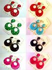 Childs Small Clip On Flamenco Hoop Earrings Red Pink Green Black Turquoise
