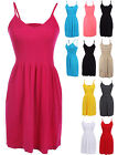 Seamless Spaghetti Strap Scoop Neck Flare Dress Stretch ONE