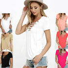 Sexy Women T Shirt Short Sleeve V Neck Loose Pullover Cotton Casual Blouse Tops