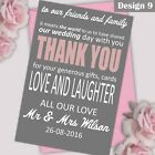 Personalised Wedding Vintage Text Thank You Cards Note Cards Any Colour