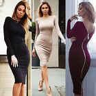 Women Sexy Bodycon Long Sleeve Knitted Back Exposed Zipper Party Dress UR