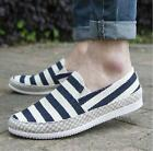 New Canvas Mens Driving Moccasin Casual Shoes Striped Slip On Loafers Shoes