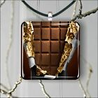 CHOCOLATE BAR #2 SQUARE PENDANTS NECKLACE MEDIUM OR LARGE -ojk0Z