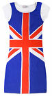 Girls Short Sleeved Union Jack Dress New Kids Great Britain Olympics Dresses