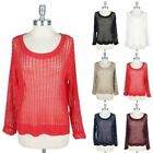 Fishnet Mesh Knit Long Sleeve Sweater Casual Round Neck Sweat Shirt Easy Wear