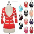 Striped Deep V Neck 3/4 Sleeve Cardigan Front Button Down Ribbed Hem Cuff Cute