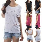 Cap Sleeve Ripped Distressed Front High Low Hem T Shirt Top Casual S M L