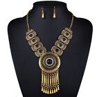 New Boho Turquoise Crystal Charm Choker Bib Statement Necklace Chain Earrings
