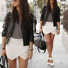 Fashion Womens Wrap Mini Skort Skirt Irregular Laminated Flanging Short Culottes