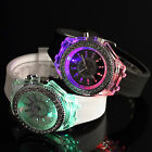 Black / White Silicone Band 7 Colours Lights Women's Ladies Girls Quartz Watch