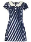 NEW RETRO SIXTIES PETER PAN COLLAR 60s MINI MOD DRESS NAVY POLKA DOT MC209 D195