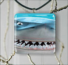 WHITE SHARK FUNNY CLOSE UP FACE PENDANTS NECKLACE M - L - XL -fgd4Z