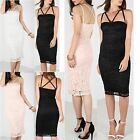 Womens Summer Bustier Layered Sleeveless Midi Dress Ladies Strappy Lace Top