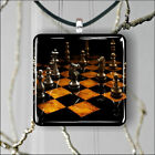 Chess game SQUARE PENDANTS NECKLACE MEDIUM OR LARGE -dt3v