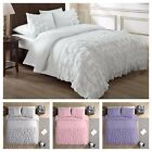 Chezmoi Collection Ella Shabby Chic Ruffle Duvet Cover Set, WHITE, PINK, GRAY