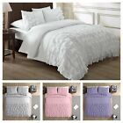 Chezmoi Collection Ella Shabby Chic Ruffle Duvet Cover Set WHITE PINK GRAY