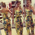 Women's Backless Floral Bodycon Jumpsuit Pants Clubwear Bandage Dress Hot Sale