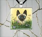 SIAMESE CAT FUNNY FACE SQUARE PENDANT NECKLACE -ghf5Z