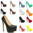 Womens Stiletto High Heels Ladies Concealed Platform Court Shoes US Size 4-11
