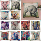 New Creative Color Elephant Pattern Cotton Linen Sofa Throw Pillow Cushion Cover