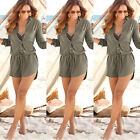 Fashion Casual Womens Long Sleeve Jeans Vintage T shirt Denim Mini Beach Dress