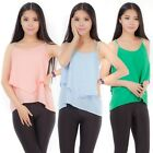 Sexy Women Double Layer Summer Casual Blouse Sleeveless Vest T Shirt Top Tops