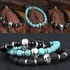Men Women Skull Natural Gemstone Lava Rock Stone Prayer Bead Bangle Bracelet