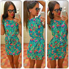 Women Summer Fashion Casual Short Sleeve Floral Loose Mini Party Cocktail Dress