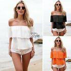 Plus Size 8-24 Summer Womens Off Shoulder Chiffon Crop Tops Beach Blouse TXST