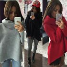 Womens Turtleneck Irregular Long Sleeve Tops Pullover Shirt Blouse Sweater PLUS