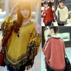 2016 Women Batwing Sleeve Warm Tassels Cloak Cape Coat Poncho Top Shawl Jacket