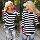 Women Long Sleeve Striped Shirt Blouse Bottoming Slim Tops Button Black T-Shirt