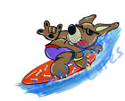 Surfing Dog Riding Wave Humorous Vinyl Decal Sticker - Car Truck RV Cup Boat Mug