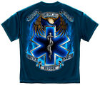 Navy Blue EMS EMT Star of Life and Eagle Service Before Self T-Shirt