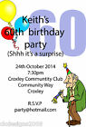 50th 60th 70th Personalised Birthday Party Invitations