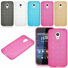 Motorola Moto G2 Slim Soft Rubber TPU Matte Plaid Grid Gel Skin Phone Cover